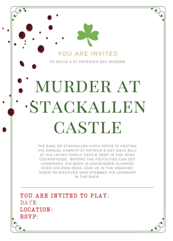 Murder At Stackallen Castle Invitation